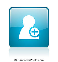 add contact blue square web glossy icon