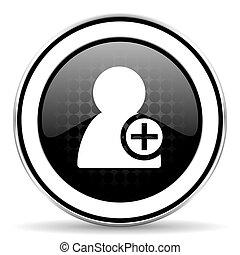 add contact icon, black chrome button