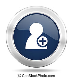 add contact icon, dark blue round metallic internet button, web and mobile app illustration