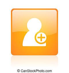 add contact orange square glossy web icon