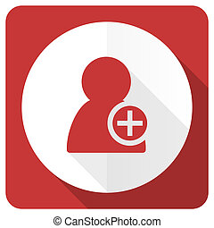 add contact red flat icon
