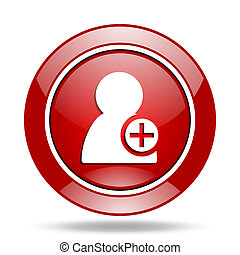 add contact red web glossy round icon