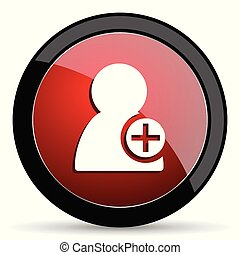 Add contact vector icon. Modern design red and black glossy web and mobile applications button in eps 10