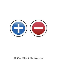 Add delete round buttons, plus and minus sign. Stock Vector illustration isolated on white background.