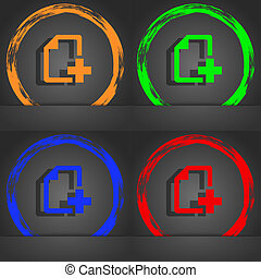 Add File document icon symbol. Fashionable modern style. In the orange, green, blue, green design.