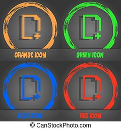 Add file icon. Fashionable modern style. In the orange, green, blue, red design. Vector