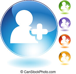 Add Friend Crystal Icon - Add friend crystal icon isolated ...