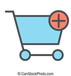 Add Items to Shopping Cart Pixel Perfect Vector Thin Line Icon 48x48. Simple Minimal Pictogram