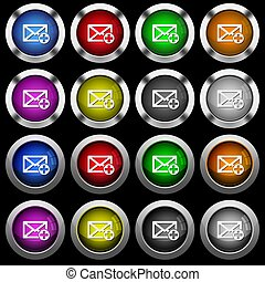 Add new mail white icons in round glossy buttons on black background