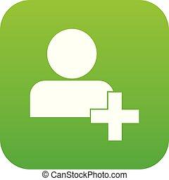 Add new user account icon digital green