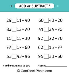 Add or subtract. Number range up to 100. Worksheet for kids. Addition and subtraction. Mathematical exercises. Vector illustration
