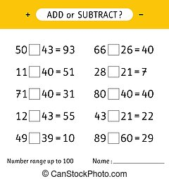 Add or subtract. Number range up to 100. Worksheets for kids. Addition and subtraction. Mathematical exercises. Vector illustration