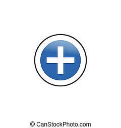 Add plus icon in flat style. Plus sign, add icon, medical cross. Stock Vector illustration isolated on white background.