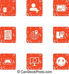 Add recipient icons set. Grunge set of 9 add recipient vector icons for web isolated on white background