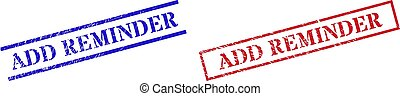 Grunge ADD REMINDER rubber stamps in red and blue colors. Stamps have draft style. Vector rubber imitations with ADD REMINDER tag inside rectangle frame, or parallel lines.