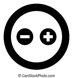 Add sign and delete sign icon black color in circle or round