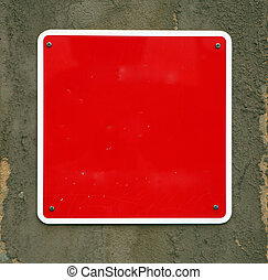 Add text here - A blank, red warning sign, waiting for a...