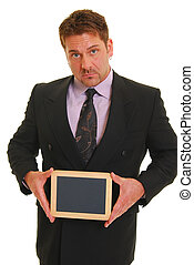 Add text here - Man in a suit with a blank chalkboard ...