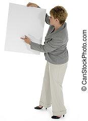Add Text - Thirty five year old business woman pointing to...