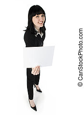 Add Text - Young business woman holding blank white card.