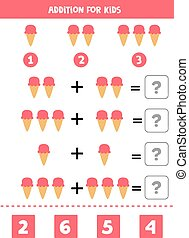 Add the ice creams and write down the right answer. - ...