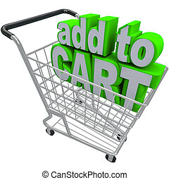 Add to Card Words Shopping Pushcart e-Commerce Buy Store