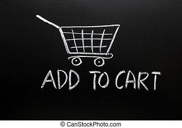 Add to cart concept drawn in chalk on a blackboard