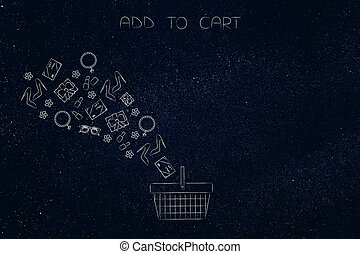 add to cart conceptual illustration: group of products flying into an empty shopping basket