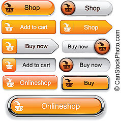 Add to cart high-detailed modern buttons. - Buy web orange...