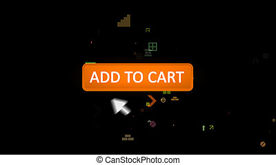 Add to cart icon pushed with hazy arrow