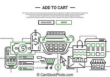 Add to Cart - line design website banner temlate - Add to...