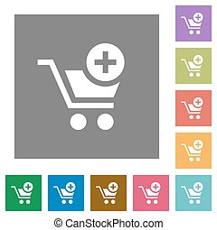 Add to cart square flat icons