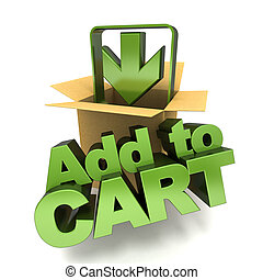 Add to cart symbol, 3D rendering