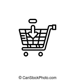 add to cart vector icon line style. Perfect for website, application, commerce, presentation, logo and more. simple, thin and modern outline icon