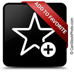Add to favorite black square button red ribbon in corner