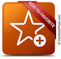 Add to favorite brown square button red ribbon in corner