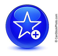 Add to favorite icon glassy blue round button