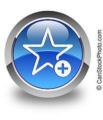 Add to favorite icon glossy blue round button