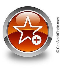 Add to favorite icon glossy brown round button