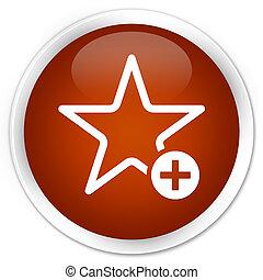 Add to favorite icon premium brown round button
