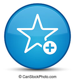 Add to favorite icon special cyan blue round button