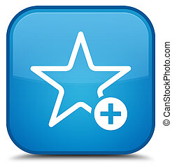 Add to favorite icon special cyan blue square button