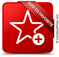 Add to favorite red square button red ribbon in corner