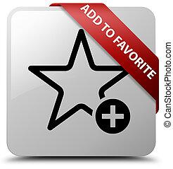 Add to favorite white square button red ribbon in corner