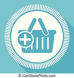 Add to shopping basket flat vector icon, buy square blue web button
