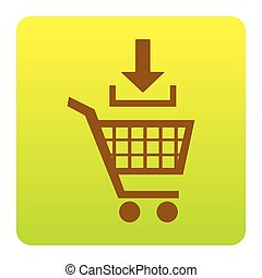 Add to Shopping cart sign. Vector. Brown icon at green-yellow gradient square with rounded corners on white background. Isolated.