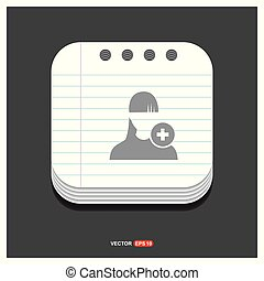 Add user icon Gray icon on Notepad Style template Vector EPS 10 Free Icon