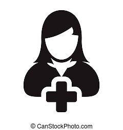 Add user icon vector female person profile avatar with plus symbol in flat color glyph pictogram illustration