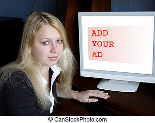 Add your ad - Blond girl and computer monitor