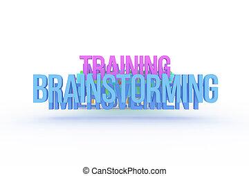 addestramento, affari, colorito, &, brainstorming, web., comunicazione, words., alfabeto, disegno, concettuale, 3d